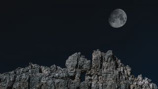 Mountain Rock and Moon